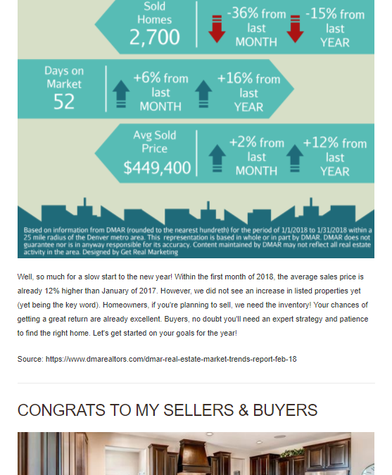 February Newsletter: 🏠 Denver among the 10 hottest housing markets in the US for 2018 + more news/tips.